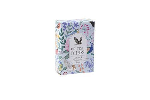 Vogel Bloemen Ontwerp Hand Verpakt Milieuvriendelijk 100% Plantaardig Blauw 100g Citroen & Mandarijn Zeep Gemaakt in het Verenigd Koninkrijk | Uit CGB Giftware's British Birds Collection | GB04780