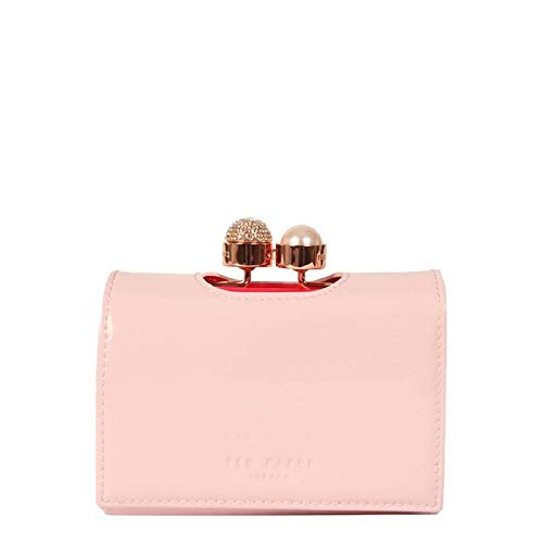 Ted Baker Cattrin kleine roze leren portemonnee met parel en kristal Bobble gesp