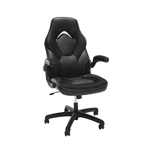 OFM Essentials Collection Racing Style Bonded Leather Gaming Chair, in Black (ESS-3085-BLK) black chair gaming