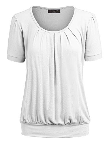 Made By Johnny MBJ WT1175 Womens Scoop Neck Short Sleeve Front Pleated Tunic XL White