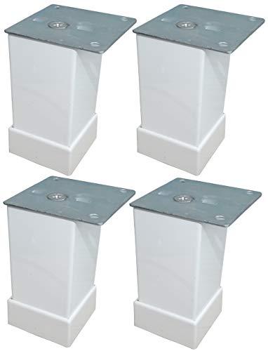 Aerzetix: 4 x Möbelfüße aus Metall verstellbar 40/40 mm H80 mm Weiß C42524