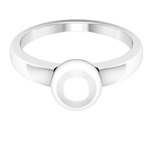 Anillo de novia de 4 quilates certificado solitario de perlas de oro, clásico para mujer, anillo de promesa de piedras preciosas, 14K Oro blanco, perla de agua dulce, Size:US 70