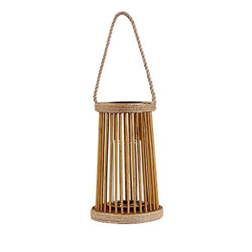 Creatieve rieten rotan hennep touw houten wind licht binnenplaats decoratie draagbare kandelaar decoratieve kaarsen lantaarns