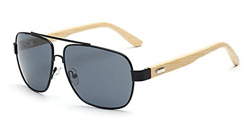 NIUBKLAS Gafas De Sol De Bambú Hombres De Madera De Metal Mujeres Piloto Cuadrado Espejo De Diseño Gafas De Sol Originales Para Hombres Conducción Retro De Sol KP1511-C1