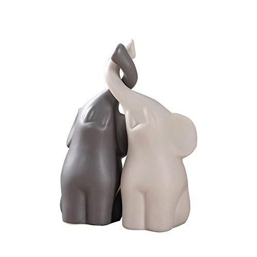 JORSION Creative Decoration Home Decor Animal Ornament Ceramics Crafts Art Figurines (Twin Elephant)