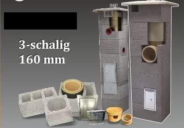 SUCCSALE-NICPONT Keramikschornstein Bausatz 3-Schalig Massiv MIT LÜFTUNGSKANAL DN180 8,00m