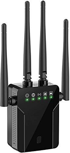 Chalpr Amplificador WLAN, repetidor WLAN de hasta 1200 Mbit/s, amplificador de señal de doble banda, repetidor/router/modo AP, extensor de señal inalámbrico para todos los dispositivos WLAN