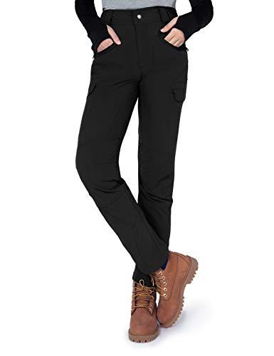 Gouxry Pantaloni da trekking da donna, leggeri, estivi, estivi, con 4 tasche con zip, in softshell, traspiranti, da pesca Nero S