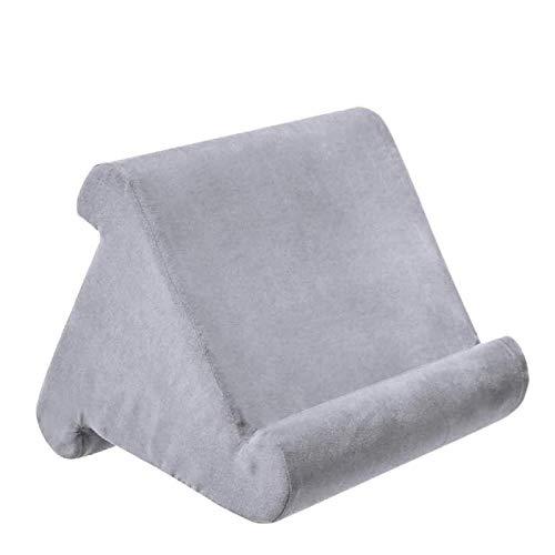 Hezhu Tablet Ständer Kissen Kissenständer Buchablage Multi Angle Soft Bed Pillow Holder Tragbarer Dreieck Tablet Ständer (Grau)