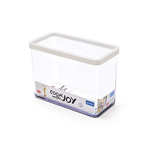 Rotho Loft Vorratsdose 2.1 l, Kunststoff (BPA-frei), transparent / weiss, 2.1 Liter (20 x 10 x 14,2 cm)