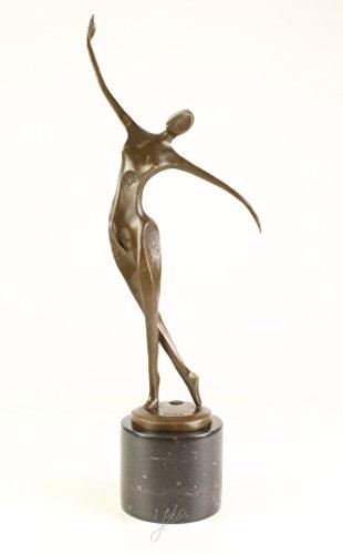 Decoratie Bronzefigur Skulptur Statue Tänzerin modern auf Marmorsockel Bronze 53 cm