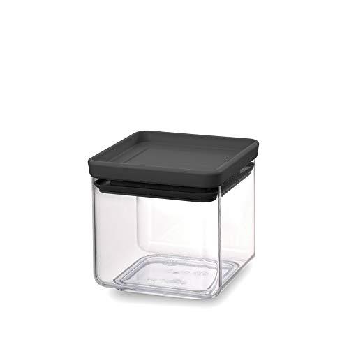 Brabantia Tasty + Bote apilable cuadrado de plástico transparente, 0.7 l, tapa dark grey