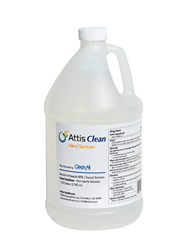 Attis Clean Premium Liquid Hand Sanitizer | 1 Gallon | 80% Alcohol | Made in The US | Non-Toxic | Refill to Kill The Germs, Clear