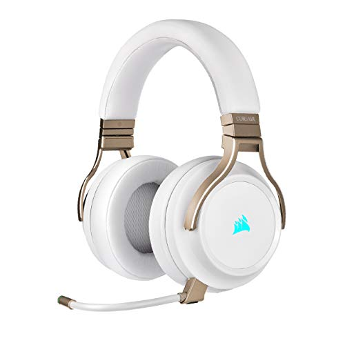 Corsair VIRTUOSO RGB WIRELESS Hi-Fi-Gaming-Headset (Hochdichter 50-mm-Neodym-Lautsprecher, Premium-Ohrpolster mit Memory-Schaumstoff, Signalreichweite von 18 m, Omnidirektionales Mikrofon) Perlmutt