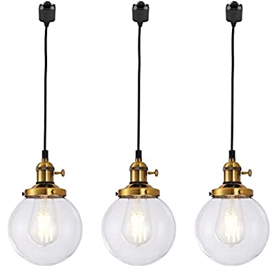 Kiven H-Type Track Lighting Penant, Retro Industrial Ball Glass Pendant Light Fitting for Home Office Bedroom Coffee Shop,Set of 3