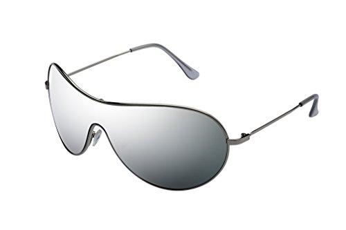 Ravs Pilotenbrille Sonnenbrille Spiegelbrille SILBER - komplett verspiegelt inkl Softbag