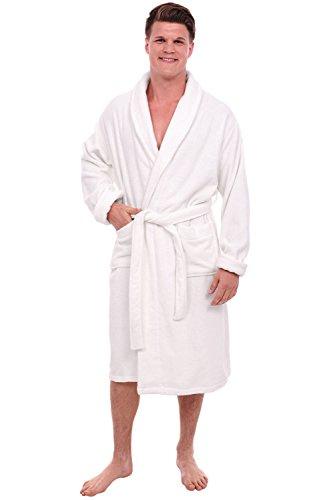 Alexander Del Rossa Mens Turkish Terry Cloth Robe, Thick Bathrobe, 3XL 4XL White (A0106WHT4X)