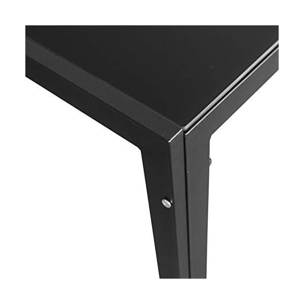 Wohaga Gartentisch 'London', 150x90cm, Stahlrahmen schwarz, Tischglasplatte schwarz undurchsichtig