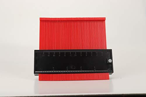 Hesper 型取りゲージ 120mm 幅広タイプ(13cm幅) 「フルフィルメント by Amazon」ABSプラスチック製型取りゲージ 測定ゲージ 測定工具 曲線定規 不規則な測定器 (赤)