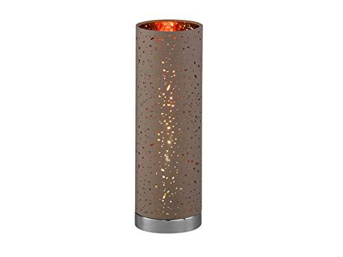 Moderne HONSEL tafellamp met LED, voet chroom, stoffen kap bruin/goud Ø 12cm