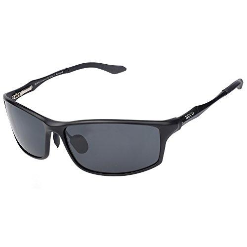 DUCO Herren Sportbrille Polarisierte Sonnenbrille Fahrerbrille 8201 (Schwarz)