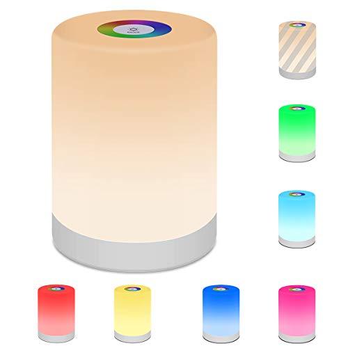 Widamin LED Nachttischlampe, Touch Dimmbar Atmosphäre Stimmungslicht, USB Aufladbar, Tragbar, kann als eine kleine Tischlampe, kleine Nachtlampe verwendet werden