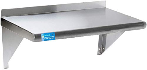 12' X 30' Stainless Steel Wall Shelf | NSF Certified Metal Shelving