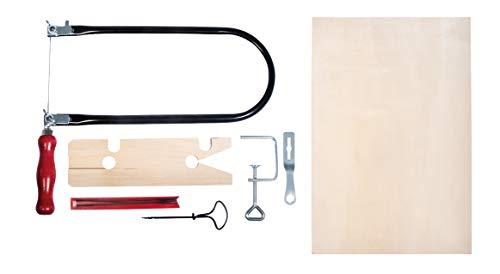 Rayher 69218000 Bladzaagset, met nagelboor, multiplex plaat en andere accessoires in houten doos, 33,7 x 22 x 43 cm