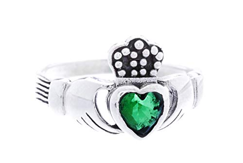 WINDALD Irischer Freundschaftsring Claddagh 1 cm Grünes Kristall Herz Solvar Symbol Ring Partnerring 925 Sterlingsilber (Silber, 52 (16.6))