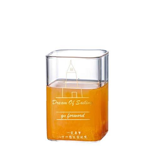 250/400ml de vidrio resistente al calor de taza de té de vidrio cuadrado transparente taza café hogar de bebida de jugo de leche taza de cerveza