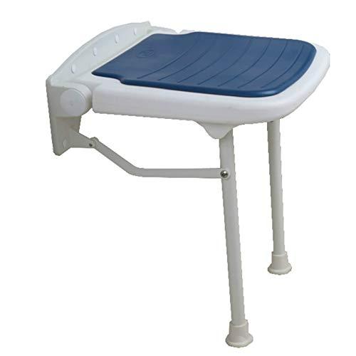 QFWM Taburete de baño y ducha, plegable, banco de ducha montado en la pared, taburete de baño con superficie antideslizante, silla de ducha (tamaño: 15 x 14.4 x 16.7 pulgadas), color: azul