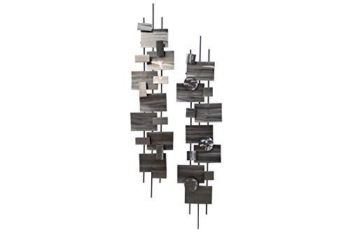 KunstLoft Extravagante Metall Wandskulptur 'Living Geometry' 108x25x15cm | Design Wanddeko XXL handgefertigt | Luxus Metallbild Wandrelief | Abstrakte Quader & Kreise in Silber | Wandbild modern