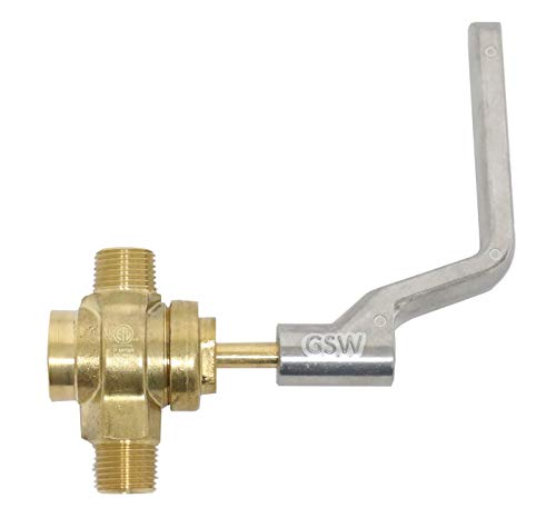 GSW WR-GV Copper Gas Valve with Handle for Commercial Wok Range, ETL Approved, 1/2' NPT X 1/2' NPT 1/2 PSI