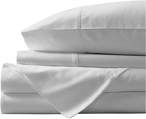 Juego de sábanas de algodón egipcio de 400 hilos, juego de sábanas de algodón con grapas 100% largas, sábana suave satinada - Sábana ajustable, sábana plana y 2 fundas de almohada (King, Silver)