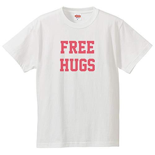 南堀江のおもしろtシャツ 「FREE HUGS」 誰かに伝えたいメッセージ 英語 ひらがな カタカナ 日本語 おもしろ半袖Tシャツ ホワイト レディースMサイズ