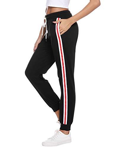 Sykooria Damen Jogginghose Sporthose Lang Yoga Hosen Freizeithose Laufhosen Baumwolle High Waist Trainingshose für Frauen mit Streifen-Streifen-schwarz-L