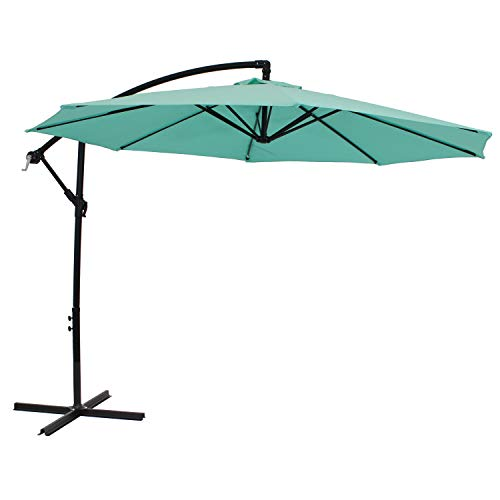 Sunnydaze Outdoor Cantilever Offset Patio Umbrella - Outside Waterproof Polyester Shade Steel Pole - Air Vent, Cross Base and Crank - Deck, Backyard and Pool - 9-Foot - Seafoam