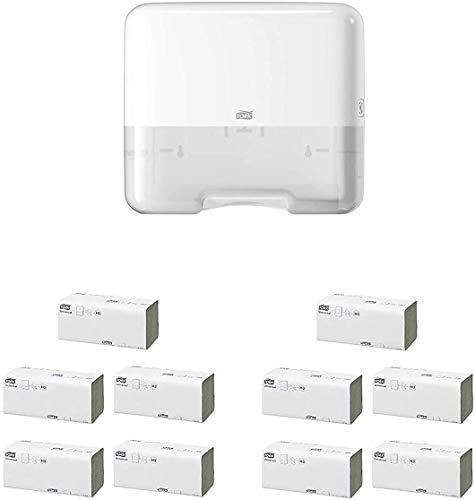 Tork Mini Spender für Zickzack und Lagenfalz Papierhandtücher 553100, (Handtuchspender + 2000 Tücher, Weiß)