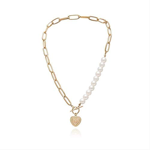 NC110 Necklace Punk Necklace Imitation Pearl Choker Necklace Statement Necklace Gold Color Love Heart Lasso Pendant Necklace for Women Jewelry for Women Men Gift