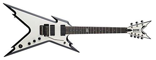 Dean Elektrische Razorback-Gitarre mit 7 Saiten und Koffer, metallisches Weiß