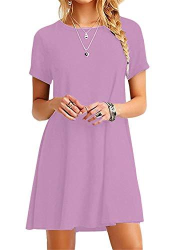 OMZIN Damen Langes Shirt Basic Tops Einfärbig Shirtkleid Kurzarm Shirt Casual Tunika Sommerkleid Hell Violett XXL