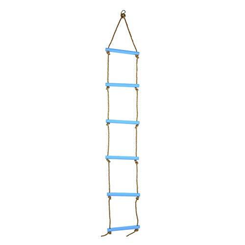Alomejor Scala di Corda per Bambini Giochi Scala da Arrampicata con 6 Pioli Plastica per Bambini Lunghezza della Casa Sull'albero capacità di Carico Massima 150 kg(Blu)