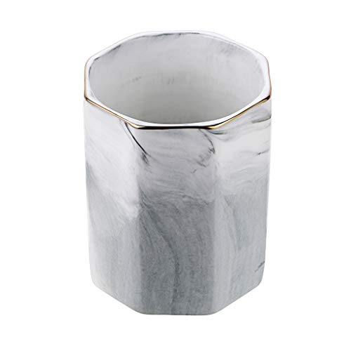 BTSKY Ceramic Pen Pencil Holder, Marble Pattern Pen Cup Pot Containers Makeup Desk Organizer Storage Cosmetic Brush Holder for Home Office Decoration Desk Organization(Gray)