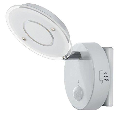 Trango Sensor LED de luz nocturna TG2636-016 en blanco con función automática directa 230V con sensor de movimiento I luz de seguridad I lámpara de enchufe I lámpara de pared I luz de orientación