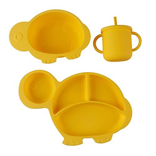 Plato de Alimentación para Bebés,Plato de Silicona Tortoise,Lavavajillas microondas Platos de Silicona para Bebé, con Ventosa para Bebé Mantel