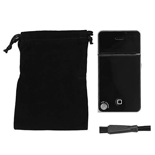 Elektrische baardtrimmer, Mini Facial Ultra Thin Electric for Men Draagbaar oplaadbaar scheerapparaat met USB-oplader met reisbeugel