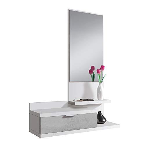 Habitdesign 0L6744A - Recibidor con Cajon y Espejo, Mueble de Entrada, Color Blanco Artik y Cemento, Medidas: 81 cm (Largo) x 116 cm (Alto) x 29 cm (Fondo)