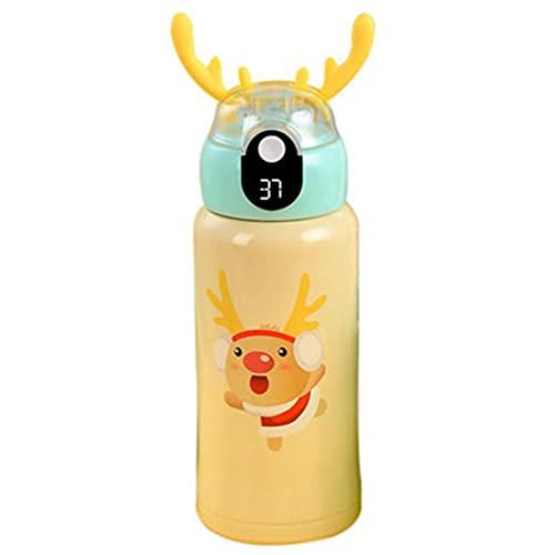 Nirmon Taza Termo Inteligente, Tapa de Paja de Doble Uso, Termo Al VacíO, Indicador de Temperatura, Botella de Agua para NiiOs Amarillo