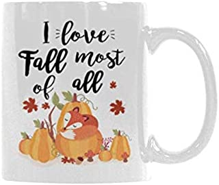 Funny Ceramic Mug I love Fall Fox Coffee Mug Tea Cup Gift Mug Funny 11 Ounce White Coffee Cup