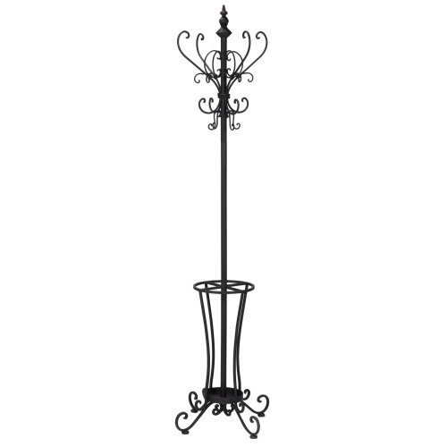 SEI Furniture Rustic Metal Scroll Hall Tree, Black